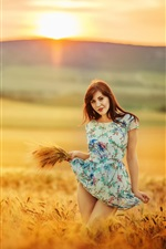 Preview iPhone wallpaper Summer, girl in the wheat field, sunset