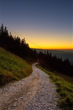 Preview iPhone wallpaper Sunset, road, mountain, slope