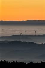 iPhone fondos de pantalla Puesta del sol, molinos de viento, niebla, montañas, cielo
