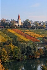 Preview iPhone wallpaper Switzerland, Zurich, vineyard, river, houses, road, autumn