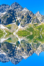 Preview iPhone wallpaper Tatra Mountains, lake, water reflection, stones, Poland