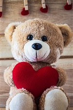 Preview iPhone wallpaper Teddy bear, love hearts, romantic, clothespin