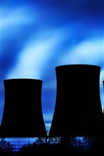 Preview iPhone wallpaper Thermal power plant, cooling tower, silhouette, night