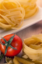 Preview iPhone wallpaper Tomatoes, pasta, noodles, food