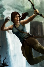 Preview iPhone wallpaper Tomb Raider, Lara Croft and wolves, bow