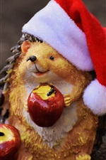 Preview iPhone wallpaper Toy, hedgehog, apples, Santa hat, Christmas theme