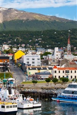 Preview iPhone wallpaper Ushuaia, Argentina, city, ships, ports, mountains