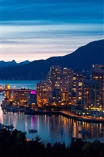 Preview iPhone wallpaper Vancouver, Canada, evening, city, lights, bridge, mountains, buildings