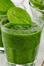 Preview iPhone wallpaper Vegetable smoothies, green, glass cups