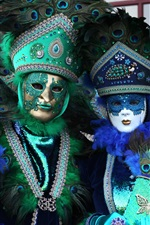 Preview iPhone wallpaper Venice culture, carnival, peacock feathers, mask, people