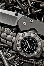 Preview iPhone wallpaper Watch, knife, screws