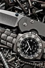 Preview iPhone wallpaper Watch, knife, screws