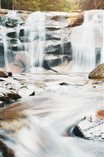 Preview iPhone wallpaper Waterfall, stones, nature scenery