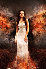 Preview iPhone wallpaper White dress angel girl, fire wings