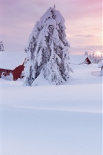 Preview iPhone wallpaper Winter morning, thick snow, house, trees, sunrise