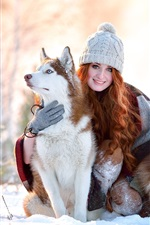 Preview iPhone wallpaper Winter, snow, smile girl, husky dogs