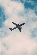 Preview iPhone wallpaper Airplane flying, sky, clouds