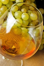 Preview iPhone wallpaper Alcohol drinks, wine, grapes, glass cup