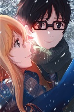 Preview iPhone wallpaper Anime girl and boy in winter, cat, snow