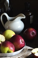 Apples and eggs, still life