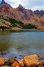 Preview iPhone wallpaper Argentina, Patagonia, rock mountains, lake