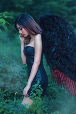 Preview iPhone wallpaper Asian angel girl, black wings, nature