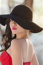 Asian girl look back, red dress, hat