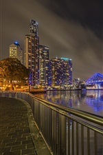 Preview iPhone wallpaper Australia, Brisbane, night, city, bridge, river, lights