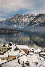 Preview iPhone wallpaper Austria, Hallstatt, Alps, mountains, lake, winter, snow, houses, roof