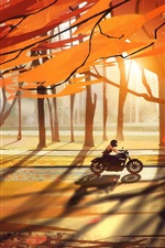 Preview iPhone wallpaper Autumn, trees, forest, motorcycle, leaves, road, sun rays, art drawing