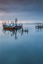 미리보기 iPhone 배경 화면 Aveiro Lagoon, 포르투갈, 호수, 보트, 부두, 새벽