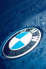 BMW logo, water droplets