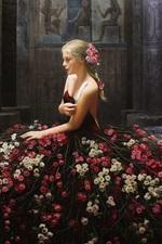 Preview iPhone wallpaper Beautiful girl, roses skirt, pose