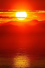 Preview iPhone wallpaper Beautiful sunset, sea, mountains, red sky, clouds, sun