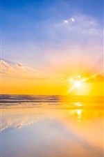 Preview iPhone wallpaper Beautiful sunset, sea, water, mirror, reflection, sky, clouds, sun rays