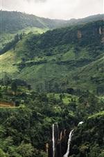 Preview iPhone wallpaper Beautiful tropical landscape, green mountains, waterfalls, Sri Lanka