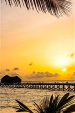 Preview iPhone wallpaper Beautiful tropical nature, palm trees, bridge, resort, huts, sea, sunset, Maldives