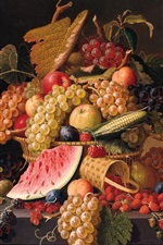 Preview iPhone wallpaper Berries, grapes, apples, watermelon, Paul Lacroix painting