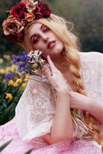 Preview iPhone wallpaper Blonde girl, flowers, makeup, art photography