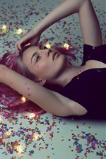Preview iPhone wallpaper Blonde girl lying on the ground, black dress, pose