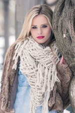 Preview iPhone wallpaper Blonde girl, scarf, winter, snow