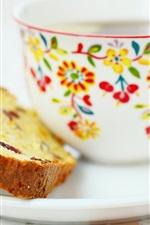 Breakfast, cake, cup, tea