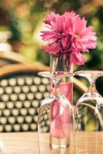 Preview iPhone wallpaper Cafe, glass cups, flowers, table, chair