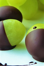 Chocolate covered green grapes, dessert, fruit