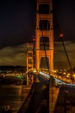 City night, lights, bridge, Golden gate, San Francisco, USA