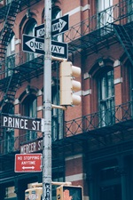Preview iPhone wallpaper City street, road signs, buildings, New York, USA