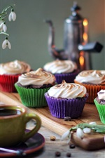 Preview iPhone wallpaper Cupcakes, cup coffee, dessert, snowdrops, candles