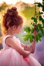 Cacheados, cabelo, menina, verde, Maple, folhas, sol