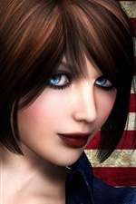 Preview iPhone wallpaper Elizabeth, BioShock Infinite, blue eyes girl, short hair