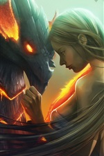 Preview iPhone wallpaper Fantasy girl and dragon, art picture
